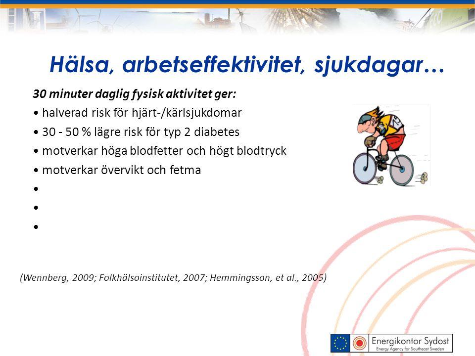 Hälsa, arbetseffektivitet, sjukdagar… 30 minuter daglig fysisk aktivitet ger: halverad risk för hjärt-/kärlsjukdomar 30 - 50 % lägre risk för typ 2 diabetes motverkar höga blodfetter och högt blodtryck motverkar övervikt och fetma (Wennberg, 2009; Folkhälsoinstitutet, 2007; Hemmingsson, et al., 2005)