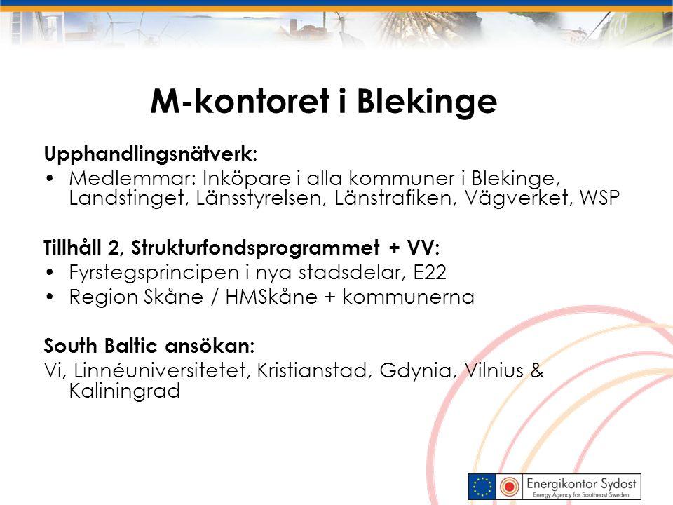 M-kontoret i Blekinge Upphandlingsnätverk: Medlemmar: Inköpare i alla kommuner i Blekinge, Landstinget, Länsstyrelsen, Länstrafiken, Vägverket, WSP Tillhåll 2, Strukturfondsprogrammet + VV: Fyrstegsprincipen i nya stadsdelar, E22 Region Skåne / HMSkåne + kommunerna South Baltic ansökan: Vi, Linnéuniversitetet, Kristianstad, Gdynia, Vilnius & Kaliningrad