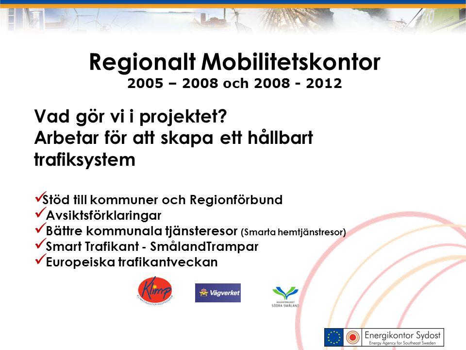 Regionalt Mobilitetskontor 2005 – 2008 och 2008 - 2012 Vad gör vi i projektet? Arbetar för att skapa ett hållbart trafiksystem Stöd till kommuner och