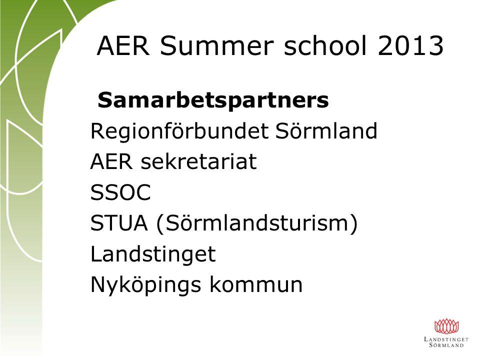 Samarbetspartners Regionförbundet Sörmland AER sekretariat SSOC STUA (Sörmlandsturism) Landstinget Nyköpings kommun