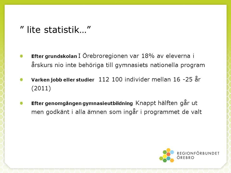 """"""" lite statistik…"""" Efter grundskolan I Örebroregionen var 18% av eleverna i årskurs nio inte behöriga till gymnasiets nationella program Varken jobb e"""