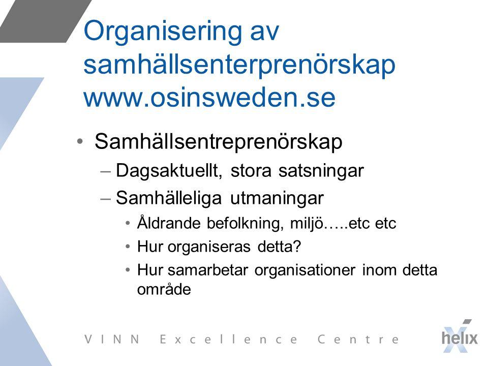 Organisering av samhällsenterprenörskap www.osinsweden.se Samhällsentreprenörskap –Dagsaktuellt, stora satsningar –Samhälleliga utmaningar Åldrande befolkning, miljö…..etc etc Hur organiseras detta.