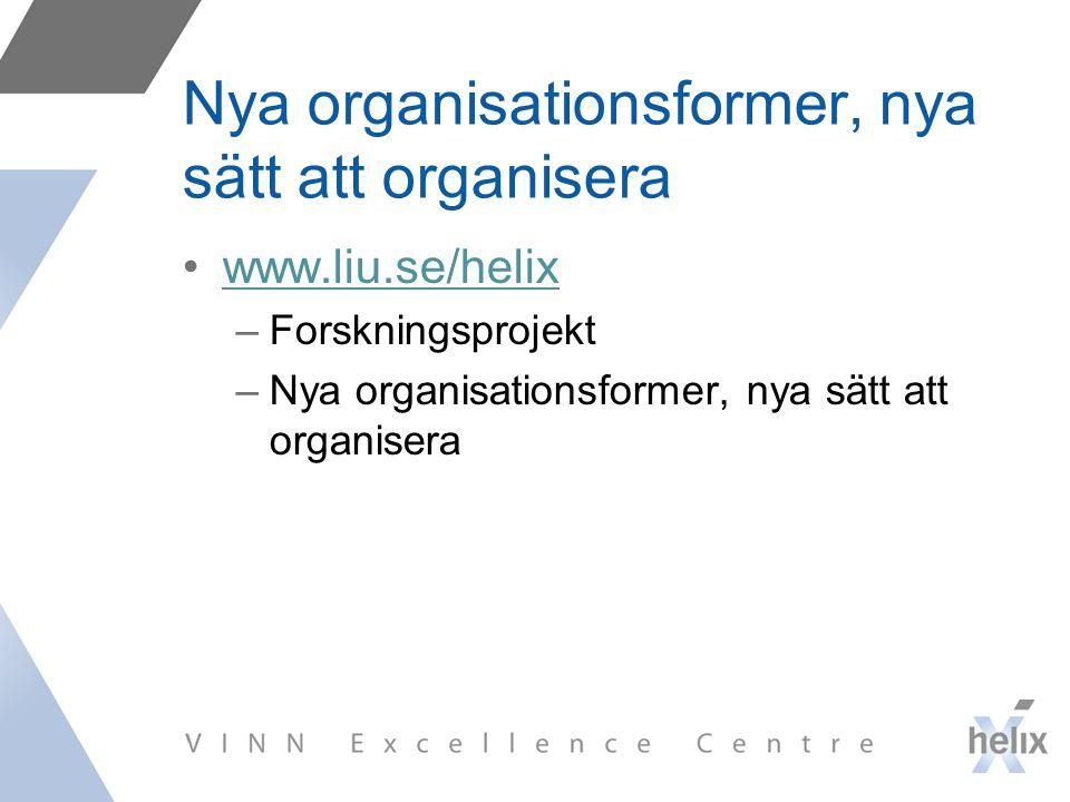 Nya organisationsformer, nya sätt att organisera www.liu.se/helix –Forskningsprojekt –Nya organisationsformer, nya sätt att organisera