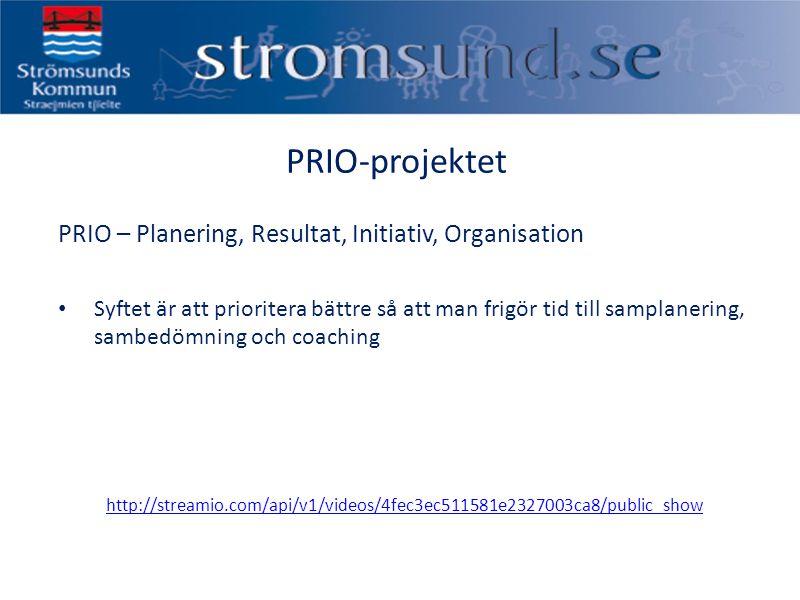 PRIO-projektet PRIO – Planering, Resultat, Initiativ, Organisation Syftet är att prioritera bättre så att man frigör tid till samplanering, sambedömning och coaching http://streamio.com/api/v1/videos/4fec3ec511581e2327003ca8/public_show