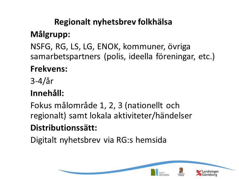 Regionalt nyhetsbrev folkhälsa Målgrupp: NSFG, RG, LS, LG, ENOK, kommuner, övriga samarbetspartners (polis, ideella föreningar, etc.) Frekvens: 3-4/år