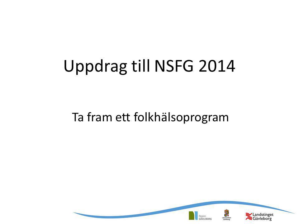 Uppdrag till NSFG 2014 Ta fram ett folkhälsoprogram