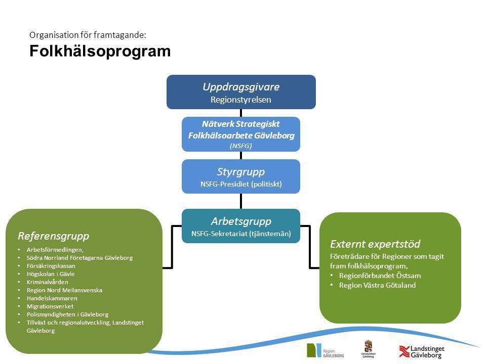 Organisation för framtagande: Folkhälsoprogram Uppdragsgivare Regionstyrelsen Styrgrupp NSFG-Presidiet (politiskt) Arbetsgrupp NSFG-Sekretariat (tjäns