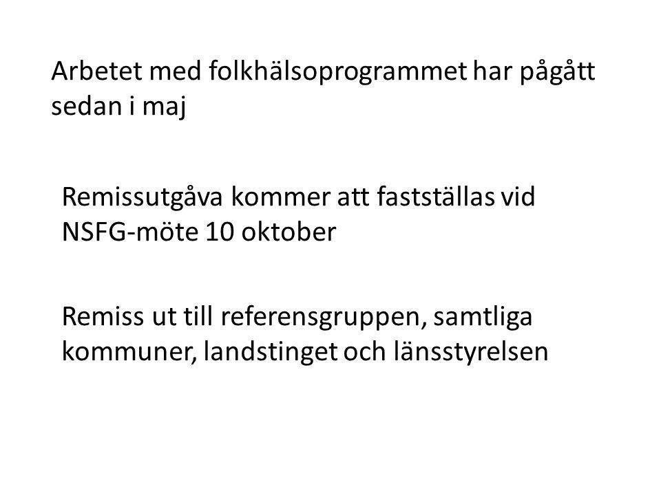 Arbetet med folkhälsoprogrammet har pågått sedan i maj Remissutgåva kommer att fastställas vid NSFG-möte 10 oktober Remiss ut till referensgruppen, sa