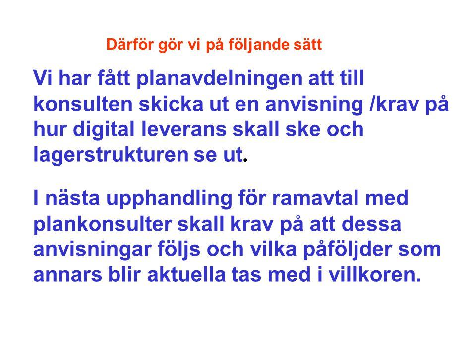 När detaljplanen sänds ut på samråd skickas den också digitalt KLM gör en teknisk kontroll av allt ovanstående Kartskiss med inringade fel och en text skickas till handläggare på planfunktionen som själv rättar eller tar kontakt med berörd konsult.