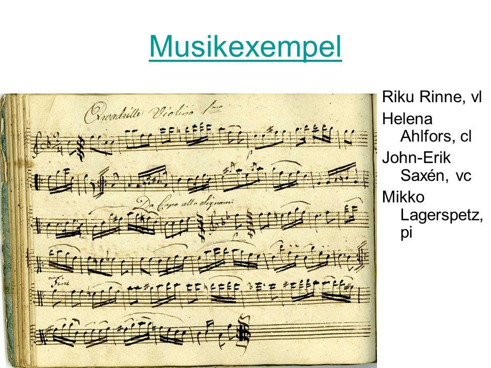 Musikexempel Riku Rinne, vl Helena Ahlfors, cl John-Erik Saxén, vc Mikko Lagerspetz, pi