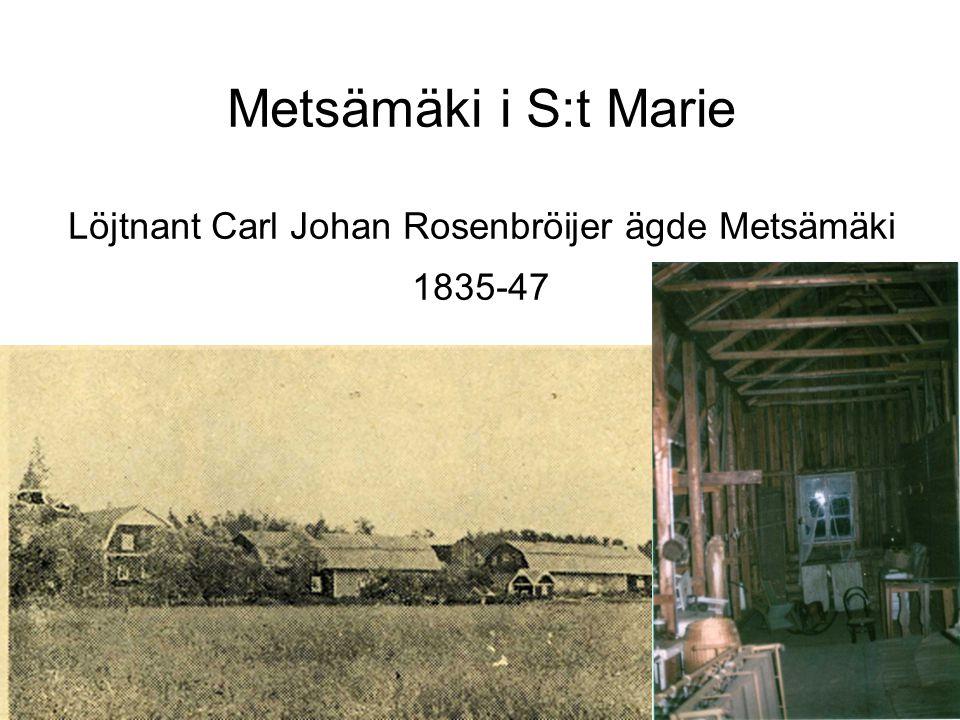 Metsämäki i S:t Marie Löjtnant Carl Johan Rosenbröijer ägde Metsämäki 1835-47