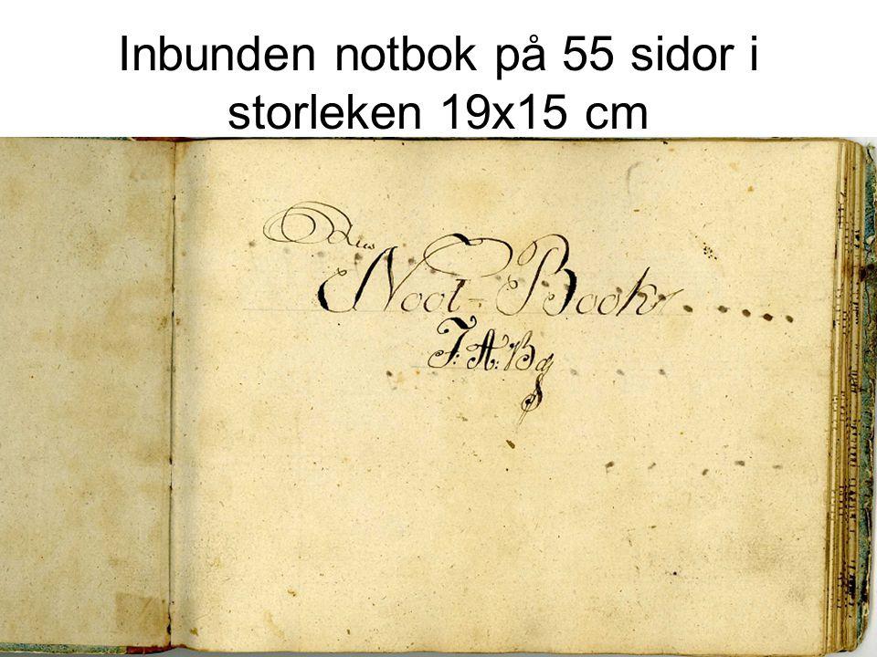 Inbunden notbok på 55 sidor i storleken 19x15 cm