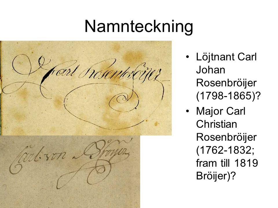 Namnteckning Löjtnant Carl Johan Rosenbröijer (1798-1865)? Major Carl Christian Rosenbröijer (1762-1832; fram till 1819 Bröijer)?