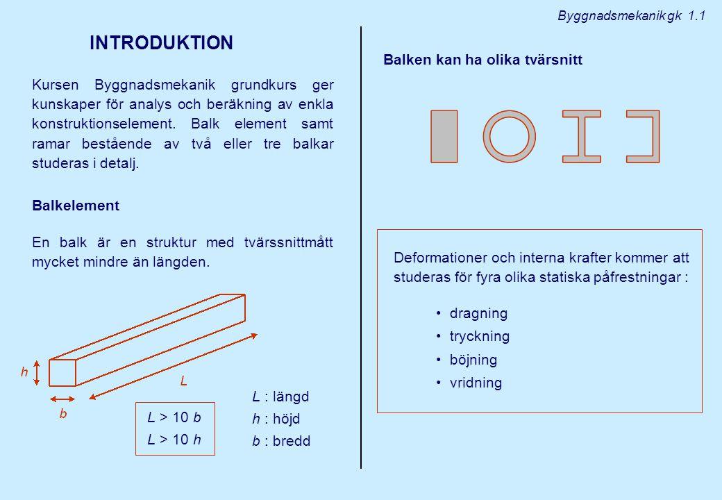 Byggnadsmekanik gk 1.1 INTRODUKTION Kursen Byggnadsmekanik grundkurs ger kunskaper för analys och beräkning av enkla konstruktionselement.