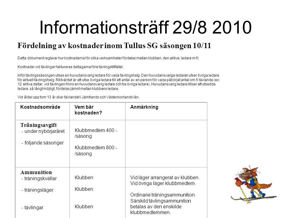 Informationsträff 29/8 2010 Fördelning av kostnader inom Tullus SG säsongen 10/11 Detta dokument reglerar hur kostnaderna för olika verksamheter fördelas mellan klubben, den aktive, ledare m fl.