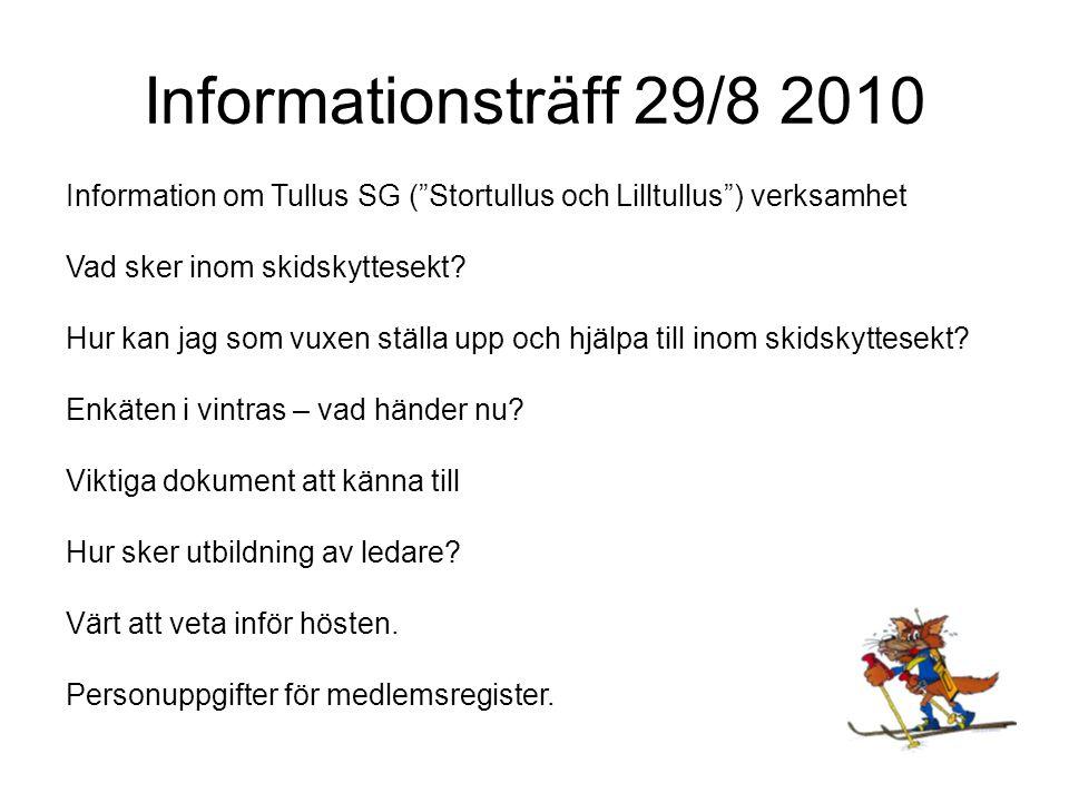 Informationsträff 29/8 2010 Tullus SG Skidskytte Banskytte Luftgevär Fältskytte Nybörjare Tullus SG Juniorer/Seniorer