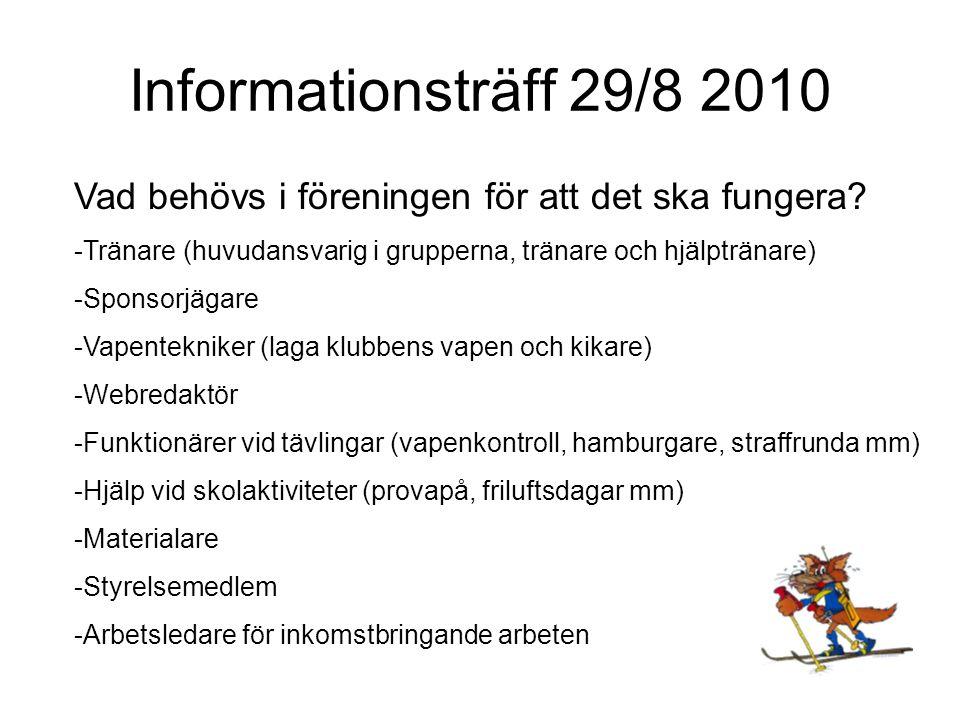 Informationsträff 29/8 2010 Vad behövs i föreningen för att det ska fungera.