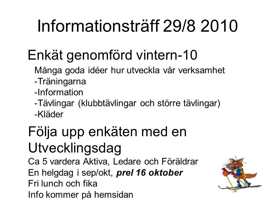 Informationsträff 29/8 2010 Enkät genomförd vintern-10 Många goda idéer hur utveckla vår verksamhet -Träningarna -Information -Tävlingar (klubbtävlingar och större tävlingar) -Kläder Följa upp enkäten med en Utvecklingsdag Ca 5 vardera Aktiva, Ledare och Föräldrar En helgdag i sep/okt, prel 16 oktober Fri lunch och fika Info kommer på hemsidan