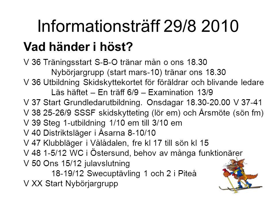 Informationsträff 29/8 2010 Utbildningssteg för ledare Skidskyttekortet (främst säkerhet) Grundledarutbildning 6-8 tim (säkerhet, SARA, skottställning) Steg 1 Helgutb fre em – sön em.