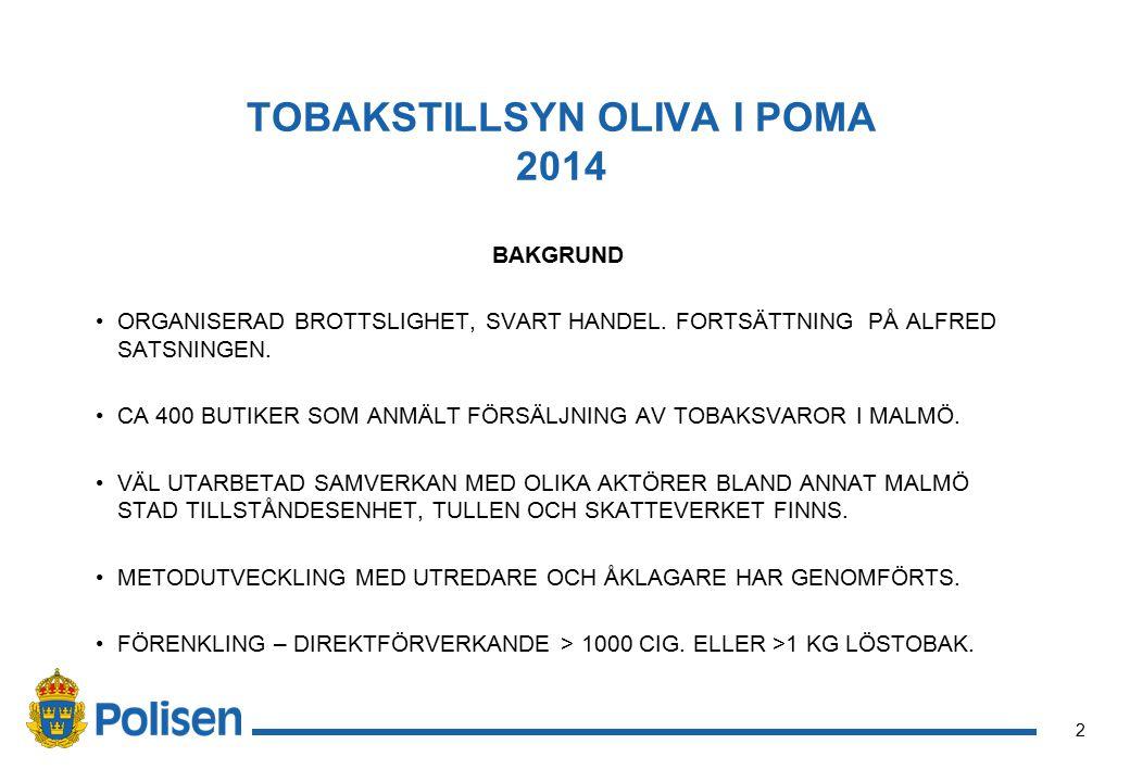 2 TOBAKSTILLSYN OLIVA I POMA 2014 BAKGRUND ORGANISERAD BROTTSLIGHET, SVART HANDEL.