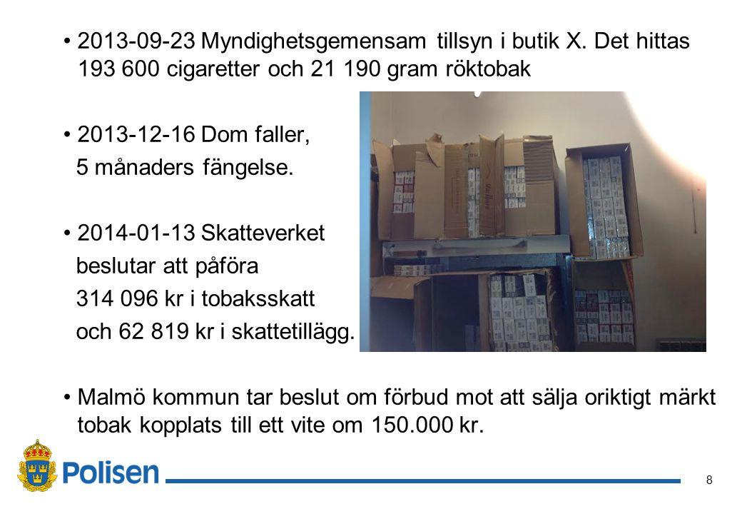 9 Egna erfarenheter tobakstillsyn i Malmö Upplevt problem med konkurrens mellan närliggande butiker samt stor efterfrågan från allmänheten.