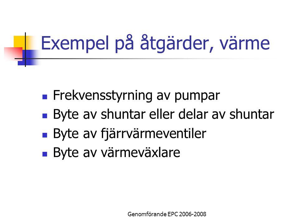 Genomförande EPC 2006-2008 Exempel på åtgärder, värme Frekvensstyrning av pumpar Byte av shuntar eller delar av shuntar Byte av fjärrvärmeventiler Byte av värmeväxlare