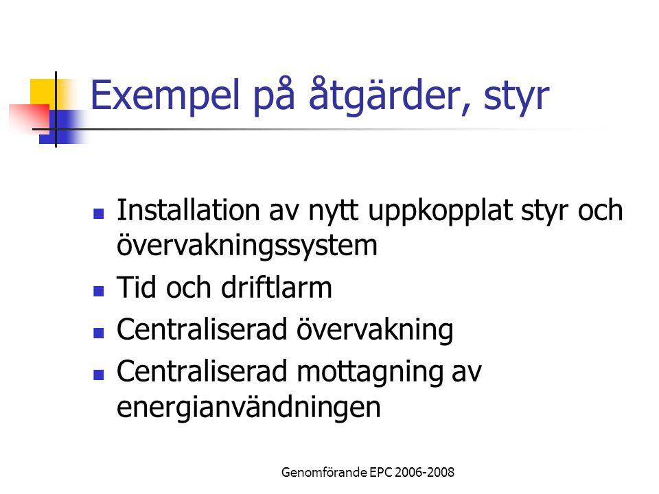 Genomförande EPC 2006-2008 Exempel på åtgärder, styr Installation av nytt uppkopplat styr och övervakningssystem Tid och driftlarm Centraliserad övervakning Centraliserad mottagning av energianvändningen