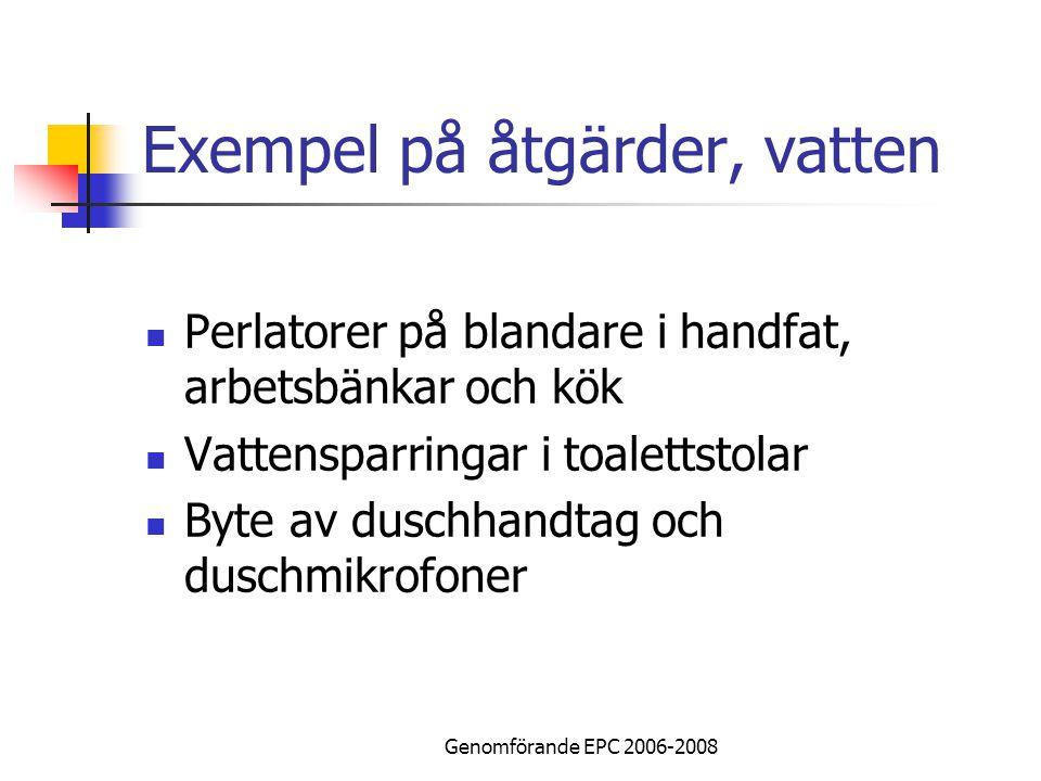 Genomförande EPC 2006-2008 Exempel på åtgärder, vatten Perlatorer på blandare i handfat, arbetsbänkar och kök Vattensparringar i toalettstolar Byte av duschhandtag och duschmikrofoner