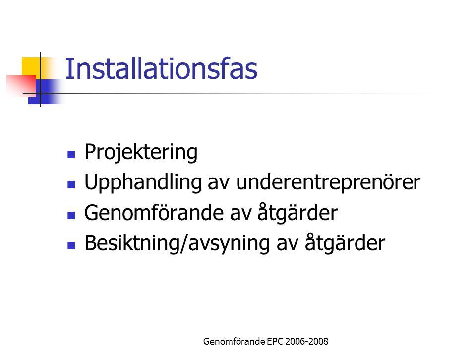 Genomförande EPC 2006-2008 Installationsfas Projektering Upphandling av underentreprenörer Genomförande av åtgärder Besiktning/avsyning av åtgärder