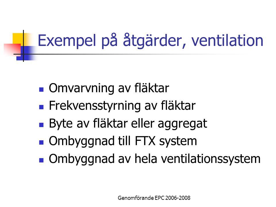 Genomförande EPC 2006-2008 Exempel på åtgärder, ventilation Omvarvning av fläktar Frekvensstyrning av fläktar Byte av fläktar eller aggregat Ombyggnad till FTX system Ombyggnad av hela ventilationssystem
