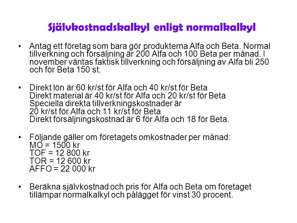 Självkostnadskalkyl enligt normalkalkyl Antag ett företag som bara gör produkterna Alfa och Beta. Normal tillverkning och försäljning är 200 Alfa och