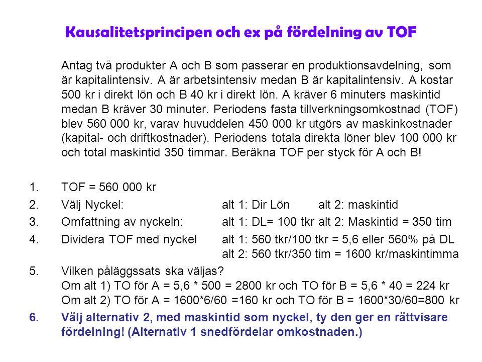 Kausalitetsprincipen och ex på fördelning av TOF Antag två produkter A och B som passerar en produktionsavdelning, som är kapitalintensiv. A är arbets