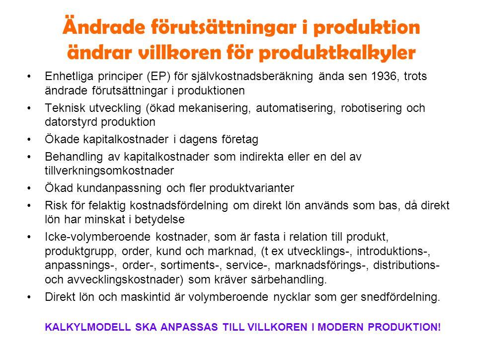 Ändrade förutsättningar i produktion ändrar villkoren för produktkalkyler Enhetliga principer (EP) för självkostnadsberäkning ända sen 1936, trots änd