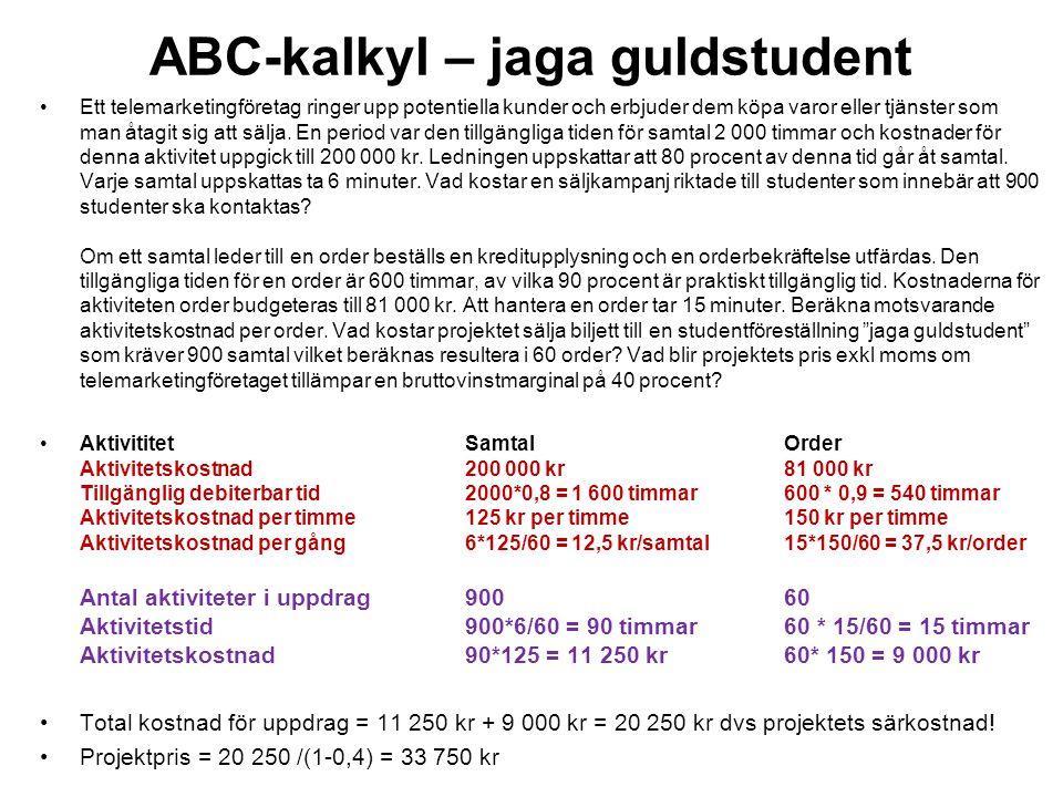 ABC-kalkyl – jaga guldstudent Ett telemarketingföretag ringer upp potentiella kunder och erbjuder dem köpa varor eller tjänster som man åtagit sig att