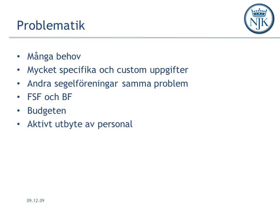 09.12.09 Problematik Många behov Mycket specifika och custom uppgifter Andra segelföreningar samma problem FSF och BF Budgeten Aktivt utbyte av personal
