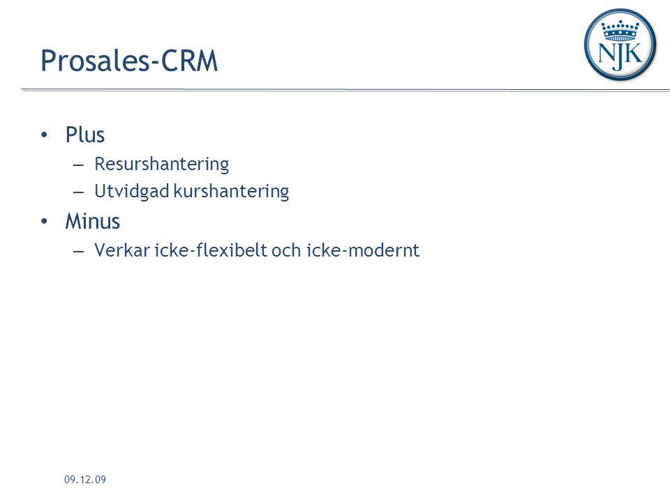09.12.09 Prosales-CRM Plus – Resurshantering – Utvidgad kurshantering Minus – Verkar icke-flexibelt och icke-modernt