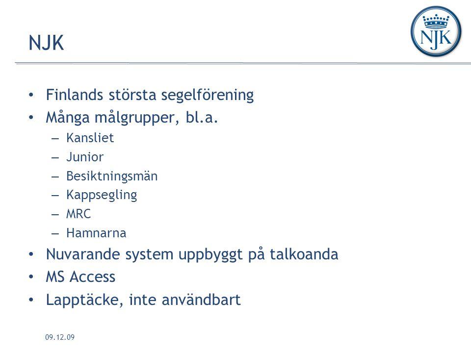 NJK Finlands största segelförening Många målgrupper, bl.a.