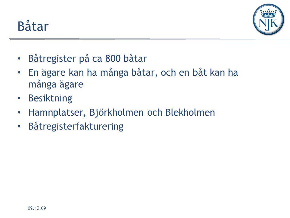 09.12.09 Båtar Båtregister på ca 800 båtar En ägare kan ha många båtar, och en båt kan ha många ägare Besiktning Hamnplatser, Björkholmen och Blekholmen Båtregisterfakturering