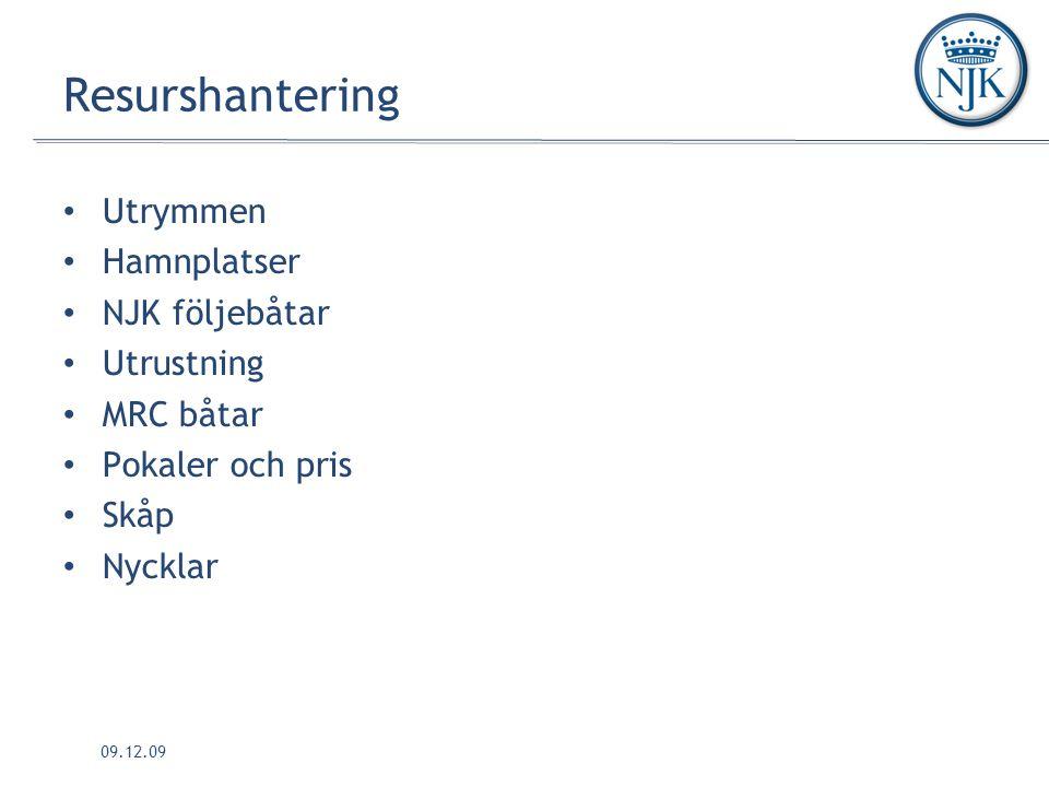 09.12.09 Resurshantering Utrymmen Hamnplatser NJK följebåtar Utrustning MRC båtar Pokaler och pris Skåp Nycklar