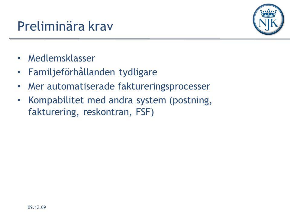 09.12.09 Preliminära krav Medlemsklasser Familjeförhållanden tydligare Mer automatiserade faktureringsprocesser Kompabilitet med andra system (postning, fakturering, reskontran, FSF)