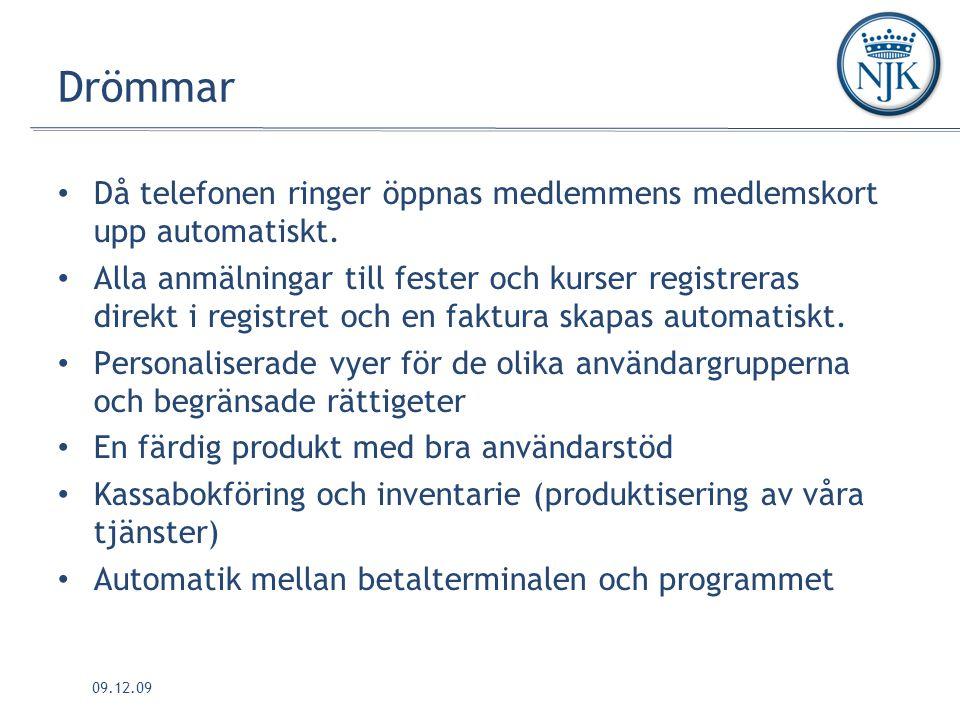 09.12.09 Drömmar Då telefonen ringer öppnas medlemmens medlemskort upp automatiskt.