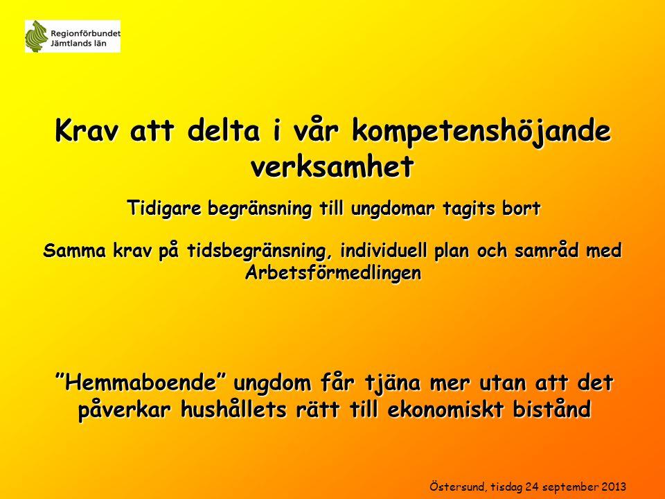 Hemmaboende ungdom får tjäna mer utan att det påverkar hushållets rätt till ekonomiskt bistånd Samma krav på tidsbegränsning, individuell plan och samråd med Arbetsförmedlingen Tidigare begränsning till ungdomar tagits bort Östersund, tisdag 24 september 2013 Krav att delta i vår kompetenshöjande verksamhet