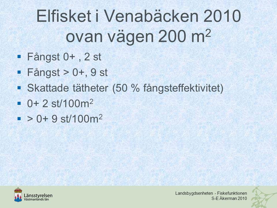 Landsbygdsenheten - Fiskefunktionen S-E Åkerman 2010 Elfisket i Venabäcken 2010 ovan vägen 200 m 2  Fångst 0+, 2 st  Fångst > 0+, 9 st  Skattade tätheter (50 % fångsteffektivitet)  0+ 2 st/100m 2  > 0+ 9 st/100m 2