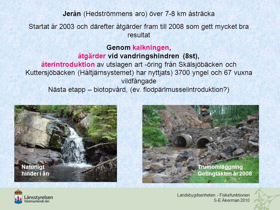 Landsbygdsenheten - Fiskefunktionen S-E Åkerman 2010 Jerån (Hedströmmens aro) över 7-8 km åsträcka Startat år 2003 och därefter åtgärder fram till 2008 som gett mycket bra resultat Genom kalkningen, åtgärder vid vandringshindren (8st), återintroduktion av utslagen art -öring från Skälsjöbäcken och Kuttersjöbäcken (Håltjärnsystemet) har nyttjats) 3700 yngel och 67 vuxna vildfångade Nästa etapp – biotopvård, (ev.