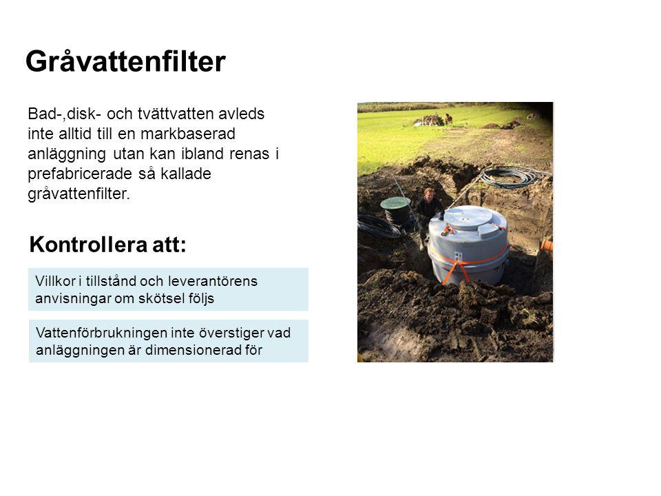 Gråvattenfilter Kontrollera att: Villkor i tillstånd och leverantörens anvisningar om skötsel följs Vattenförbrukningen inte överstiger vad anläggning