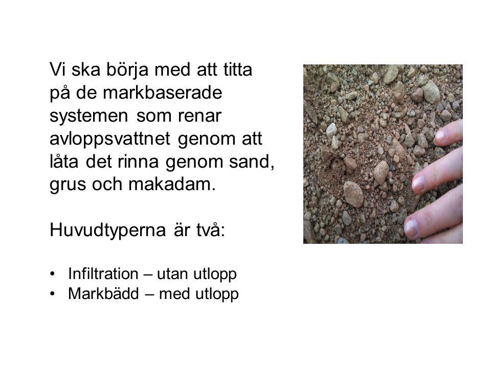 Vi ska börja med att titta på de markbaserade systemen som renar avloppsvattnet genom att låta det rinna genom sand, grus och makadam. Huvudtyperna är