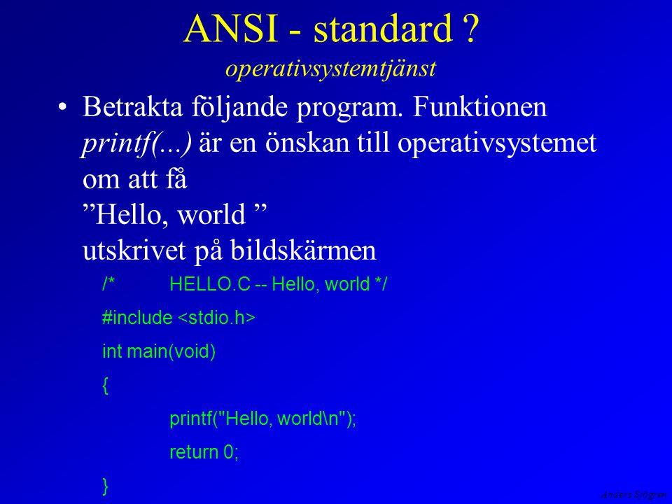 Anders Sjögren ANSI - standard . operativsystemtjänst Betrakta följande program.