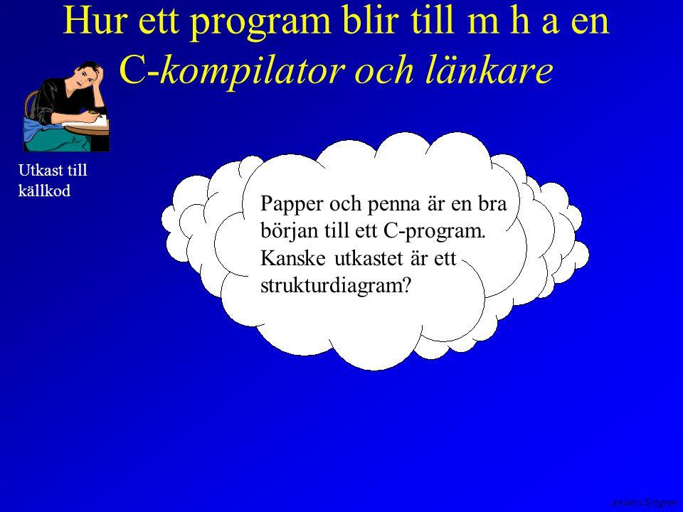 Anders Sjögren Hur ett program blir till m h a en C-kompilator och länkare Utkast till källkod Papper och penna är en bra början till ett C-program.