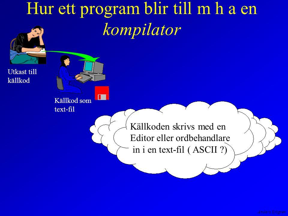 Anders Sjögren Hur ett program blir till m h a en kompilator Utkast till källkod Källkod som text-fil Källkoden skrivs med en Editor eller ordbehandlare in i en text-fil ( ASCII )
