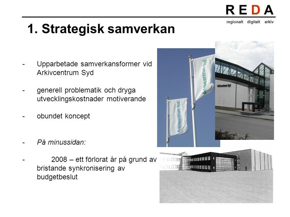 R E D A regionalt digitalt arkiv 1.Strategisk samverkan -Upparbetade samverkansformer vid Arkivcentrum Syd -generell problematik och dryga utvecklingskostnader motiverande -obundet koncept -På minussidan: - 2008 – ett förlorat år på grund av bristande synkronisering av budgetbeslut